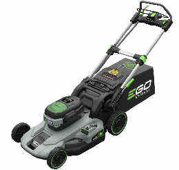 Ego cordless lawn mower viewed from the side