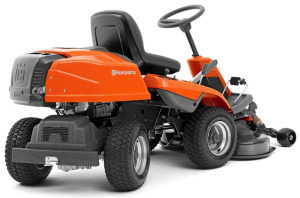Husqvarna R214TC rider mower showing articulated steering