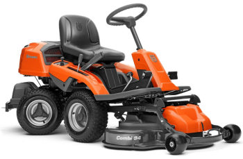 Husqvarna R214TC front deck rider lawnmower viewed from the side