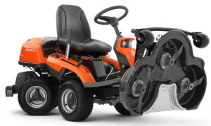 Husqvarna R316TXs AWD rider lawn mower with the deck raised